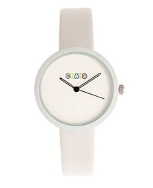 Unisex Blade White Leatherette Strap Watch 37mm