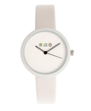 Unisex Blade White Leatherette Strap Watch 37mm