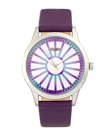 Unisex Electric Purple Leatherette Strap Watch 41mm
