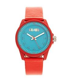 Unisex Jolt Red Leatherette Strap Watch 34mm