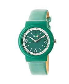 Crayo Unisex Vivid Green Leatherette Strap Watch 36mm