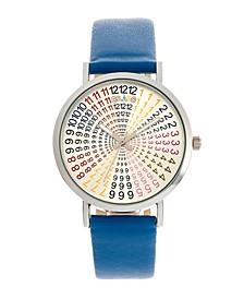 Unisex Fortune Blue Genuine Leather Strap Watch 38mm