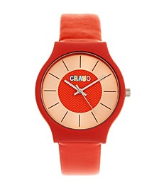 Unisex Trinity Red Leatherette Strap Watch 36mm