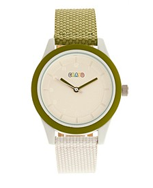 Unisex Pleasant Olive, White Leatherette Strap Watch 39mm