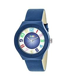 Unisex Atomic Blue Genuine Leather Strap Watch 36mm