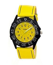 Unisex Fun Yellow Genuine Leather Strap Watch 40mm