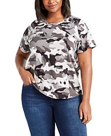 Plus Size Cotton Camo Print T-Shirt