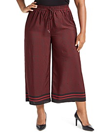 Plus Size Wide Leg Cropped Drawstring Pants