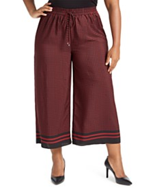 Michael Michael Kors Plus Size Wide Leg Cropped Drawstring Pants