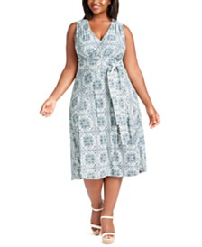 Michael Michael Kors Plus Size Marjorelle Printed Surplice-Neck Dress