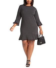 Plus Size Dot-Print Flounce-Hem Dress
