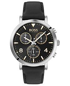 Men's Chronograph Spirit Black Leather Strap Watch 41mm