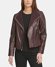 Knit-Collar Leather Moto Jacket