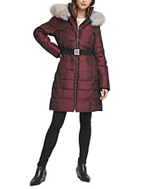 Iridescent Hooded Faux-Fur-Trim Puffer Coat