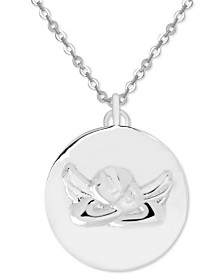 "Symbols of Strength Guardian Angel 18"" Pendant Necklace in Fine Silver-Plate"