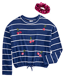 Belle Du Jour Big Girls 2-Pc. Cherry Stripe T-Shirt & Sequined Scrunchie Set
