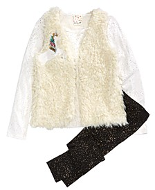 Big Girls 3-Pc. Fleece Vest, Sparkle T-Shirt & Leggings Set