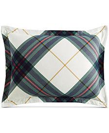 Martha Stewart Collection Winter Plaid Flannel Standard Sham, Created for Macy's