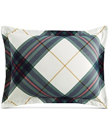 Martha Stewart Collection Winter Plaid Flannel King Sham, Created for Macy's