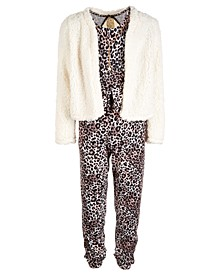 Big Girls 3-Pc. Animal-Print Jumpsuit, Fleece Jacket & Necklace Set