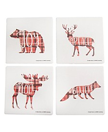 Set of 4 Cabin Holiday Animals Coasters