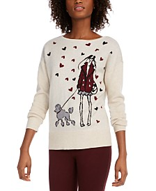 Maison Jules Poodle Graphic Sweater, Created for Macy's