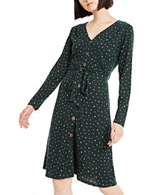 Monteau Petite Dot Wrap Dress