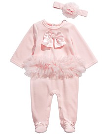 First Impressions Baby Girls 2-Pc. Headband & Footed Tulle-Trim Coverall Set, Created for Macy's