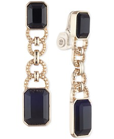 Lauren Ralph Lauren Gold-Tone Jet Stone Clip-On Drop Earrings