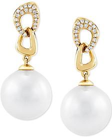 Cultured White Ming Pearl (12mm) & Diamond (1/6 ct. t.w.) Drop Earrings in 14k Gold