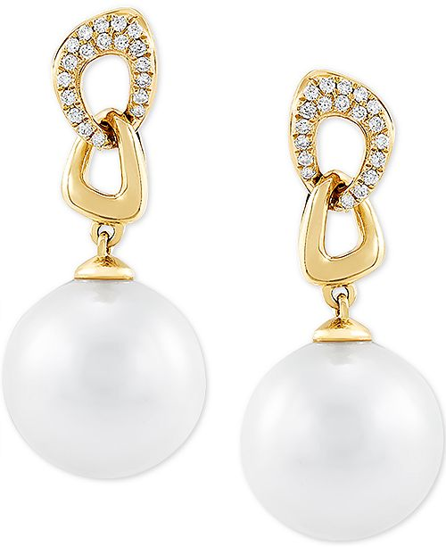 Honora Cultured White Ming Pearl (12mm) & Diamond (1/6 ct. t.w.) Drop Earrings in 14k Gold