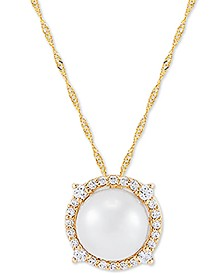 "Cultured Freshwater Pearl (8mm) & Diamond (1/6 ct. t.w.) 18"" Pendant Necklace in 14k Gold"