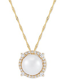 """Honora Cultured Freshwater Pearl (8mm) & Diamond (1/6 ct. t.w.) 18"""" Pendant Necklace in 14k Gold"""