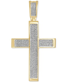 Diamond Pavé Cross Pendant (1 ct. t.w.) in 14k Gold-Plated Sterling Silver