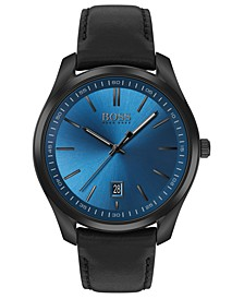 Men's Circuit Black Leather Strap Watch 42mm