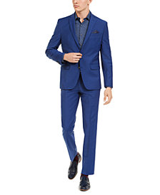 Bar III Men's Slim-Fit PerFormance Active Stretch Blue Sharkskin Suit Separates, Created For Macy's