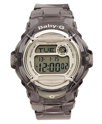 Baby-G Watch, Women's Digital Gray Resin Strap 43x46mm BG169R-8