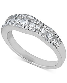 Diamond Wavy Band (5/8 ct. t.w.) in 14k White Gold