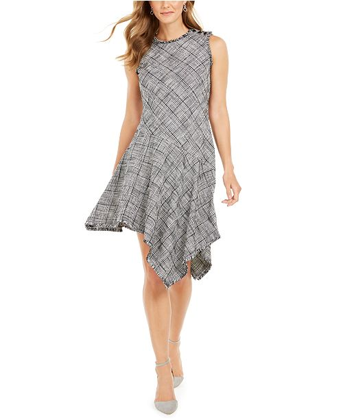 Taylor Plaid Asymmetrical-Hem A-Line Dress