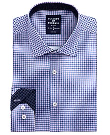 Men's Slim-Fit Non-Iron Performance Stretch Black Check Dress Shirt