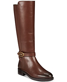 Ruby Horse and Carriage Buckle Wide Calf Leather Boots