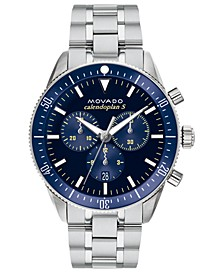 Men's Swiss Chronograph Heritage Series Calendoplan Stainless Steel Bracelet Watch 42mm