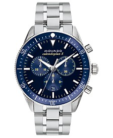 Movado Men's Swiss Chronograph Heritage Series Calendoplan Stainless Steel Bracelet Watch 42mm
