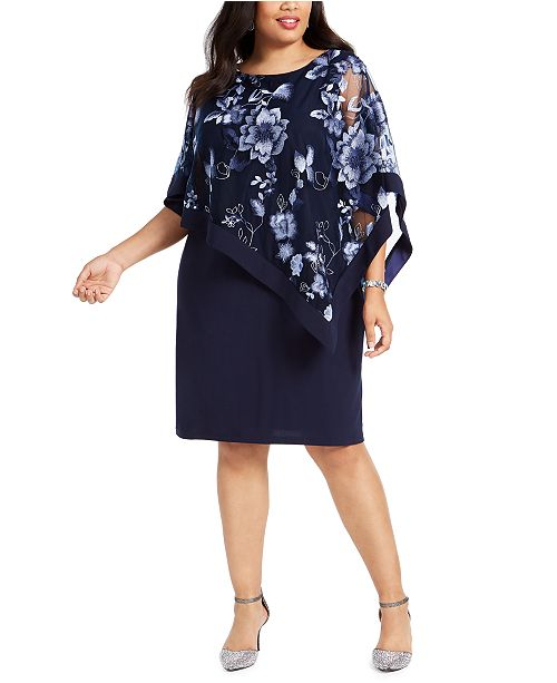 R & M Richards Plus Size Embroidered Cape Dress
