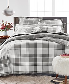 Martha Stewart Collection Ticking Plaid Flannel King Duvet Cover, Created for Macy's