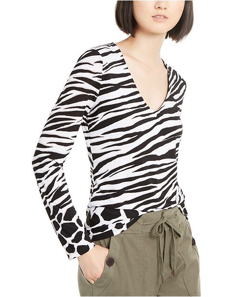 INC International Concepts INC V-Neck Animal-Print Top, Created for Macy's