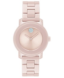 Women's Swiss Bold Pink Ceramic Bracelet Watch 31mm