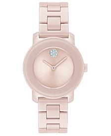 Women's Swiss Bold Pink Ceramic Bracelet Watch 31mm