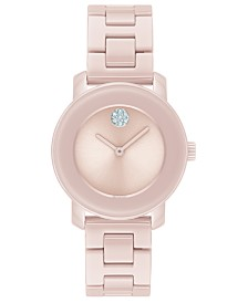 Movado Women's Swiss Bold Pink Ceramic Bracelet Watch 31mm