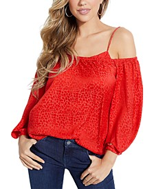 Off-The-Shoulder Tonal-Printed Top